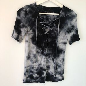 AEO Tie Dye Lace Up Top